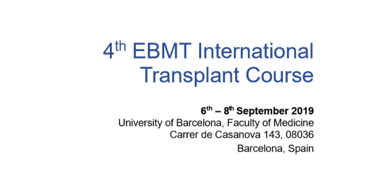 Save the date: 4th EBMT International Transplant Course